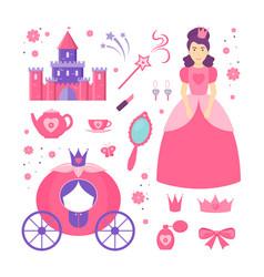 cartoon color princess sign icon set vector image