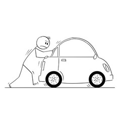 Cartoon of man or businessman pushing broken car vector