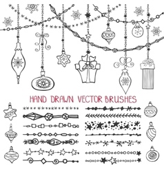 Christmas garland brushesballs set vector image