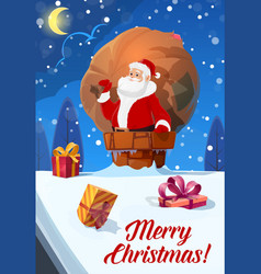 christmas poster santa with gifts bag on roof vector image