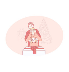 christmas present gift celebration new year vector image