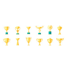 cup winner icon set isolated on white background vector image