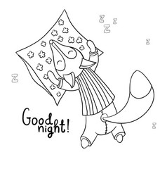Cute cartoon sleeping fox in striped pajamas vector