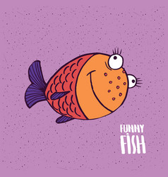 cute fish with smile in handmade cartoon style vector image