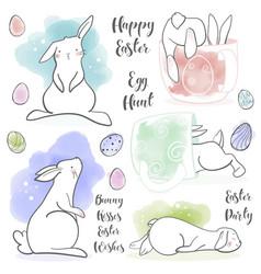 cute rabbit in cartoon style vector image