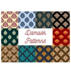 Damask floral ornate patterns set vector