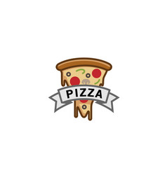 delicious pizza slice ribbon symbol logo vector image