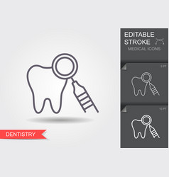 dentistry line icon with editable stroke vector image