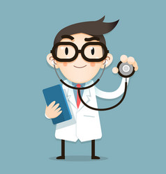 Doctor tiny character health tips vector