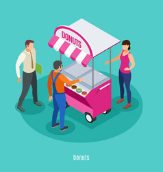 Donuts isometric background vector