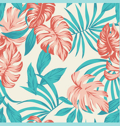 Exotic tropical leaves seamless white background vector