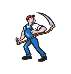 Farmer Worker Holding Scythe Cartoon vector
