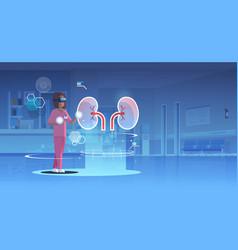 female doctor nurse wearing digital glasses vector image