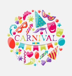 Festive banner with carnival colorful icons vector