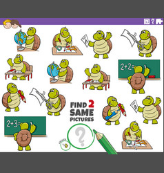 Find two same turtle characters task for kids vector