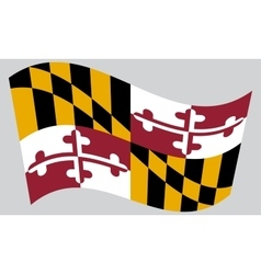 Flag of Maryland waving on gray background vector image