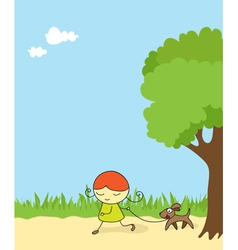 girl walking dog vector image