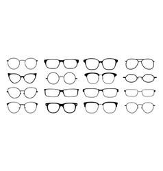 Glasses silhouette sun hipster frame set vector