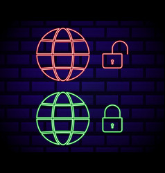 glowing neon vpn network connection icon isolated vector image