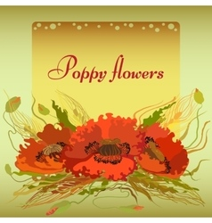 green frame with red poppy flowers and spike lets vector image