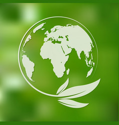 green planet and leaves vector image