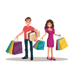 happy family couple with shopping vector image