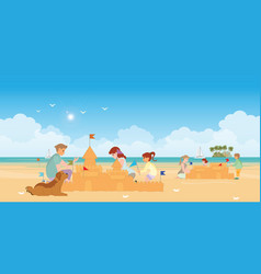 happy family playing on beach vector image