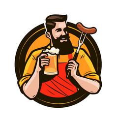 Happy man holding a mug fresh beer brewery vector