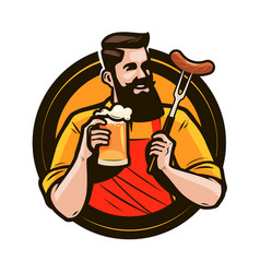 Happy man holding a mug of fresh beer brewery vector
