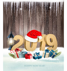 happy new year background with a 2019 and a gift vector image