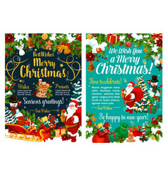 happy santa and christmas holiday celebration vector image