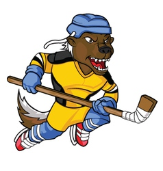 Honey Badger Hockey Mascot vector image