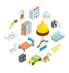 hotel isometric 3d icons set vector image
