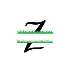 Initial z grass monogram split letter isolated vector