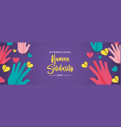 international human solidarity day colorful hands vector image