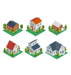 Isometric 3d private house rural buildings vector