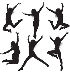 Jumping female silhouette set vector