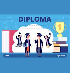 Kids diploma celebration student kid vector