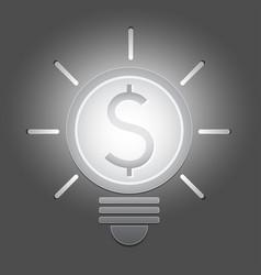 Lighten bright dollar coin light bulb vector
