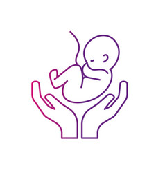 Line baby umbilical cord and new life vector