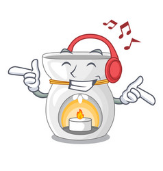 Listening music aroma lamp with burning candle vector