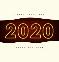 new year with 2020 neon numbers vector image