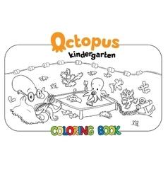 Octopus kindergarten coloring book vector