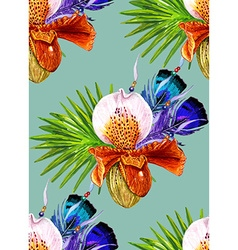 Orchid and Feathers blue pattern vector image