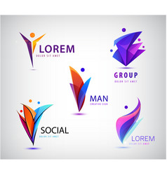 people logo set human family social vector image