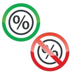 Percent permission signs vector