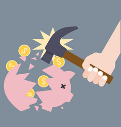 piggy bank breaking by hand holding hammer vector image