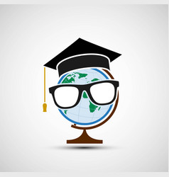 planet earth in a hat graduate vector image