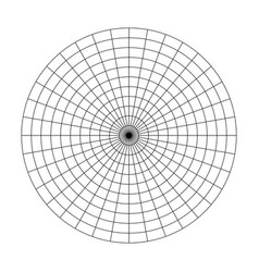 Polar grid of 10 concentric circles and 10 degrees vector