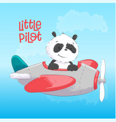 postcard poster cute panda on plane in cartoon vector image